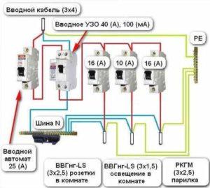 Электрическая схема в бане